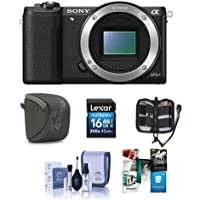 Sony Alpha A5100 Mirrorless Digital Camera Body, - Bundle with Camera Case, 16GB Class 10 SDHC Card, Cleaning Kit, Memory Wallet, Software Package
