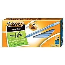 BIC Round Stic Xtra Life bolígrafo, punta media (1.0mm), Azul, 12-unidades (caso de 36cajas, 432bolígrafos total)