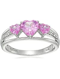 Women's Sterling Silver Lab Created Pink Sapphire Heart With Diamond Accent Three Stone Ring, Size 7