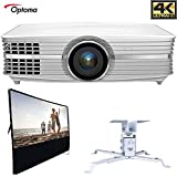 Optoma UHD60 4K Ultra High Definition Home Theater Video Projector All in One Home Theater Bundle