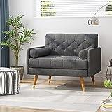 Nour Fabric Mid-Century Modern Club Chair, Dark Gray
