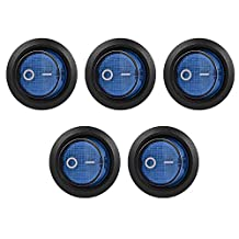 XCSOURCE 5pcs Car Boat SPST 3 Pin ON/OFF Toggle Blue Push Button Rocker Switch 10A/12V TE452