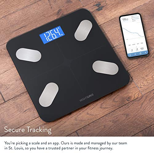 Greater Goods Digital Body Composition Black Scale, Calculates Weight, BMI, Body Fat, Muscle Mass, and Water Weight, Designed in St. Louis, in-House App for Android and iPhone (Black)