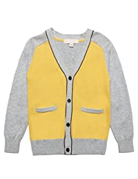 Mini Phoebee 2T-7T Little Boys Cotton V-Neck Knitted Cardigan Sweater