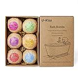 Bath Bomb U-KISS 6 PCS Bath Bomb Gift Set, All Natural Essential Oil Bath Bomb, Birthday Gifts for her, Teen girls, Valentine gift