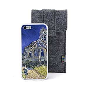 CaseCityLiu - The Church at Auvers Vincent Willem van Gogh Oil Painting Design White Bumper Plastic+TPU Case Cover for Apple iPhone 5 5s 5th 5g 5Generation Come With FREE Non Woven Packing Bag