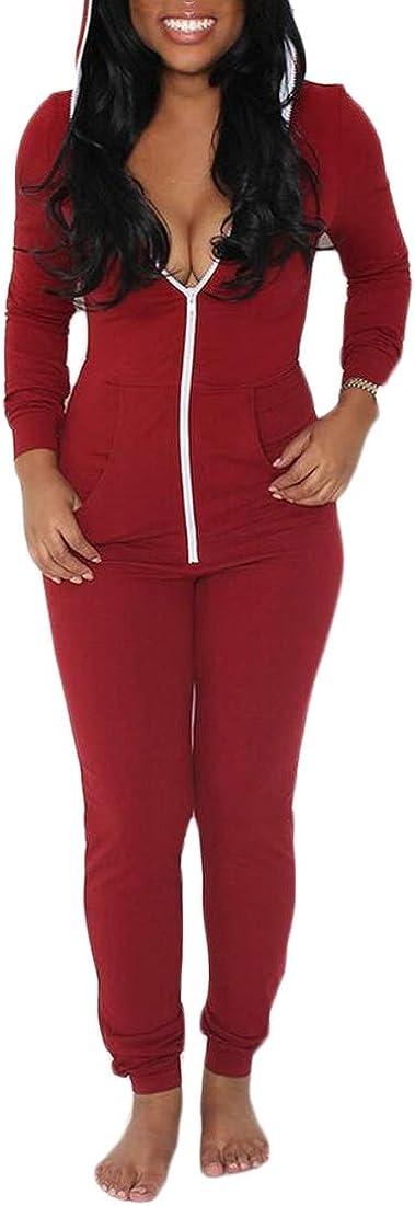 yibiyuan Women Fashion Deep V Neck Bodycon Jumpsuits Long Sleeve Romper Clubwear