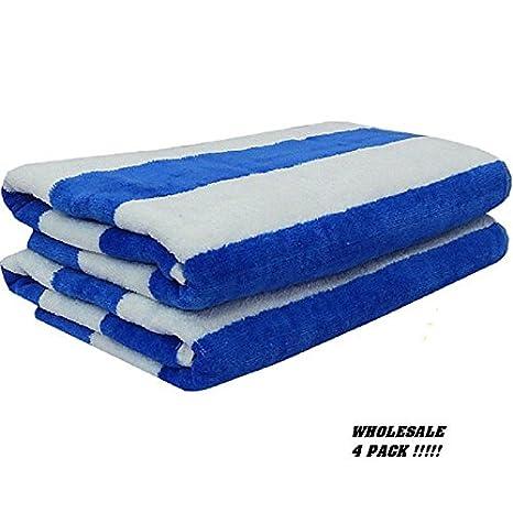 4 Jumbo blanco azul rayas Hotel Cabana toallas de playa piscina toalla toallas de 30 x 60 GA: Amazon.es: Hogar
