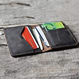JJNUSA Personalized Men's Minimalist Leather Wallet Card Holder Distressed Wallets for Gifts Dark Brown