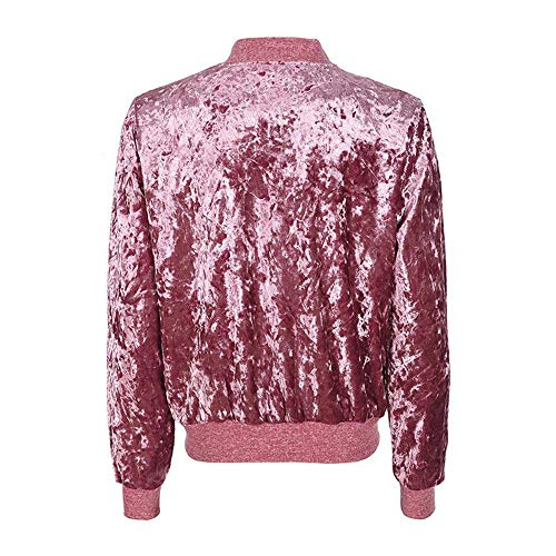 A Morwind Elegante Giacca 2018 Jacket Velluto Coat Cardigan Donne Delle Hot Vento Baseball Pink Caldo Di Signore Inverno Per Lunga Dell'annata Cappotto rxCw8q4r