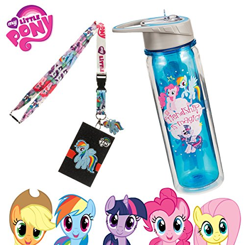 MLP My Little Pony Durable Waterbottle with Straw and Lanyard - Great for Camping Sports Birthday Party School Backpacks - Rainbow Dash Twilight Sparkle Pinkie Pie Dj Pon