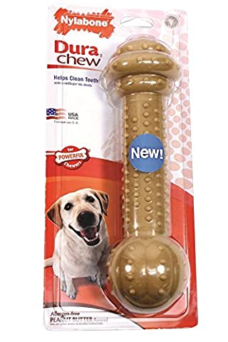 Nylabone Dura Chew Monster Peanut Butter Flavored Barbell Dog Chew Toy - Flavored Chew