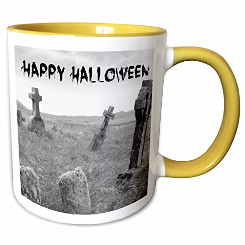 3dRose Xander holiday quotes - happy Halloween black letters on picture of scary tombstones - 15oz Two-Tone Yellow Mug (mug_201869_13) -