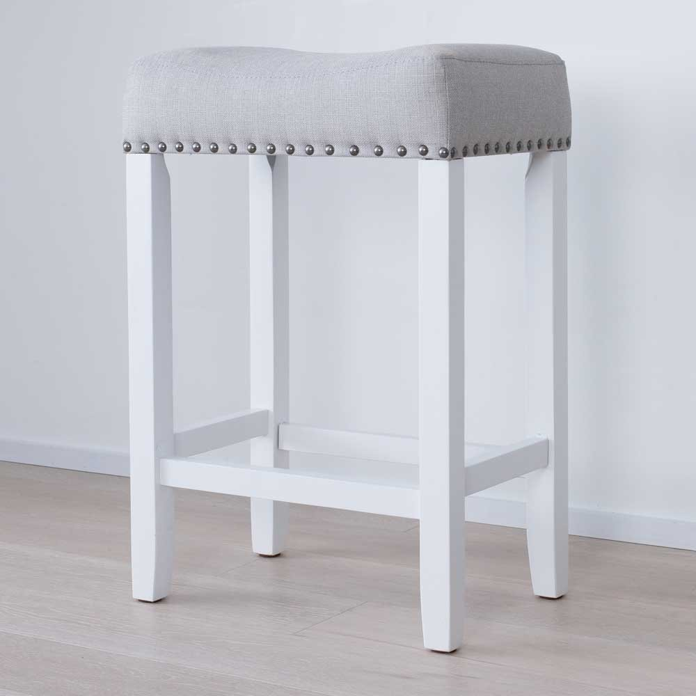 "Nathan James 21301 Hylie Nailhead Wood Pub-Height Kitchen Counter Bar Stool 24"" Gray/White"