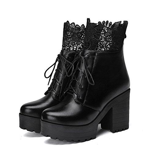 Carolbar Mujeres Lace Up Zip Fashion Lace Platform Botas Cortas De Tacón Alto Negro