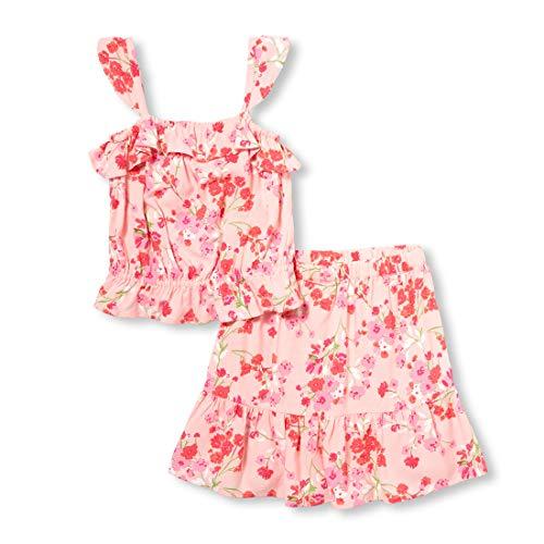 Girls Sleeveless Skirt Set - The Children's Place Girls' Big Graphic Sleeveless Ruffle Top Skirt Set, Pink Abalone, XXL(16)