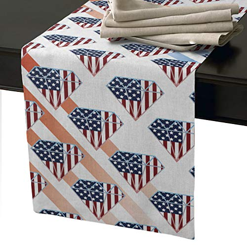 Lightrain 18x72 Inch Natural Rectangular Table Runners Cotton Linen, Independence Day Patriot American Flag Diamond Creative Design Decorative Table Runner for Dinner Parties & Events -