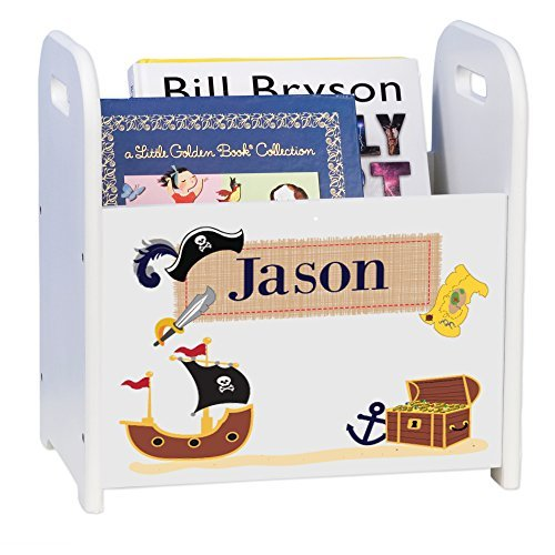 Personalized Pirate White Book Caddy Magazine Rack