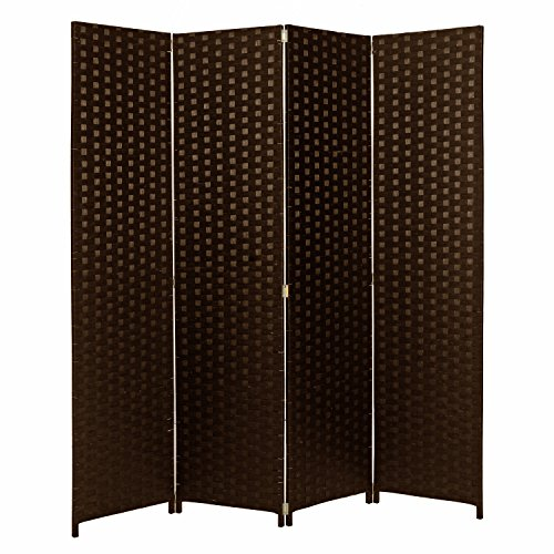MyGift 4 Panel Hinged Room Divider, Woven Paper Rattan Privacy Screens, Brown (Room Panel One Divider)