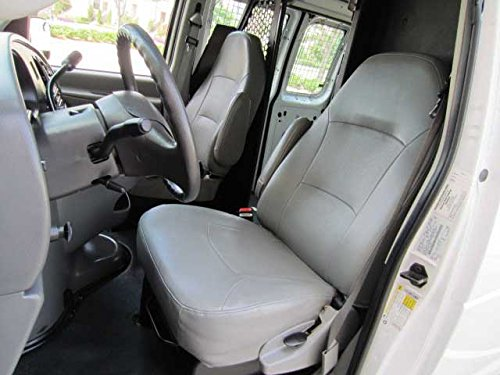 - Durafit Seat Covers Made to fit E-Series Van Captain Chairs with One Armrest Per Seat, Exact Fit Seat Covers in Dark Gray Leatherette