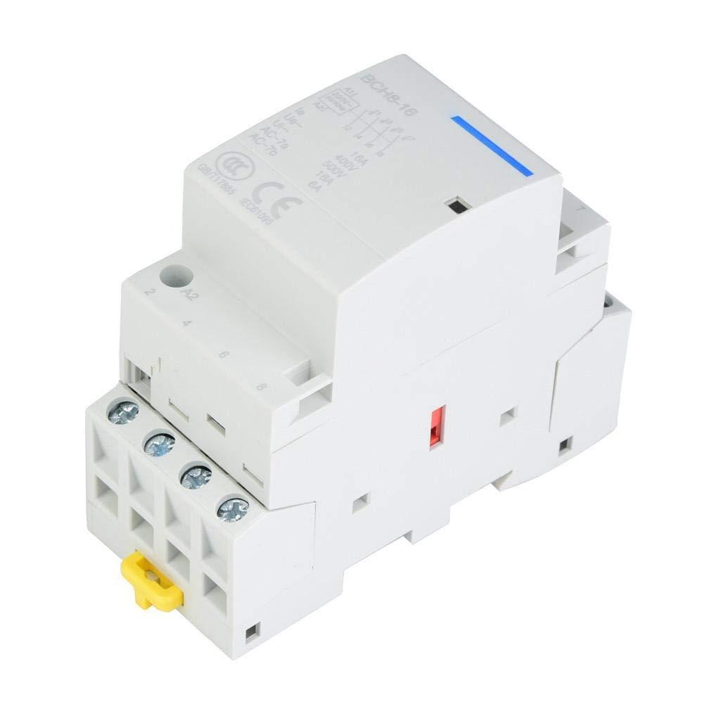 Contactor de CA para el hogar, contactores de alimentación 4P, contactor de alimentación de CA de 4 polos 220V/230V para el hogar, contactores de motor de repuesto 4NO 50/60Hz con riel DIN(220V/230V)