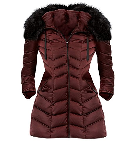 - T Tahari Women's Gwen Faux Fur Trim Hooded Coat Short Jacket Merlot (M)