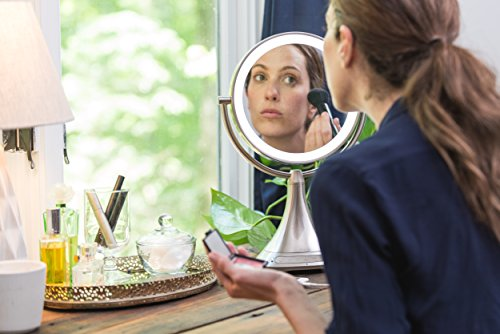 """511  qljUeL - iHome All-In-One, 7X MAGNIFY, 9"""" 2-Sided LED Makeup Mirror, Bright LED Light Up Mirror, Natural Light, Double-sided Vanity Mirror, Hands-Free Bluetooth Speakerphone, Bluetooth Audio & Phone Charger"""