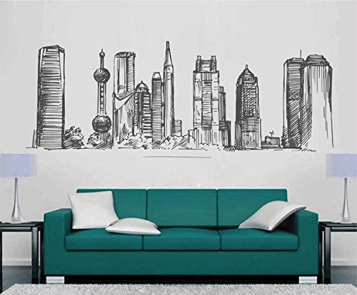 ik2405 Wall Decal Sticker Hong Kong China city panorama living room - Kong Custom Hong