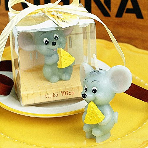 Lovely Mini Mouse Eating Cheese Birthday Candle Cake Topper Baby's Favors with Greeting Card Party Decoration from Sweet Homes & Gardens
