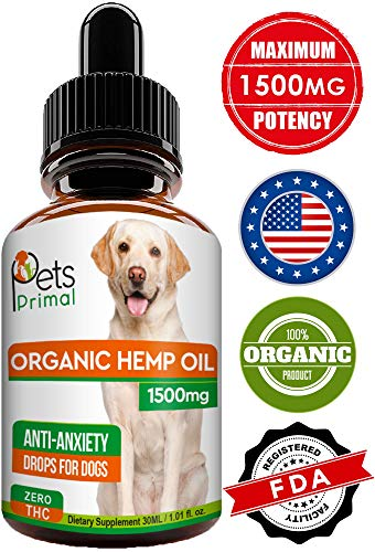 Pets Primal Hemp Oil for Dogs & Cats – 1500 MG – Full Spectrum Hemp Extract Made in USA – Organic Pet Hemp Oil – Supports Hip & Joint Health, Natural Arthritis Pain Relief, Anti Anxiety – Omega 3, 6