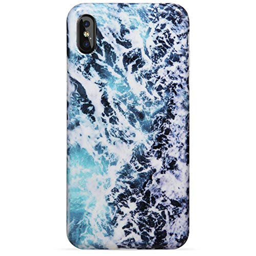 Silicone Wave (LUMARKE iPhone X Case,iPhone Xs Case,Cute Sea Waves for Girls Women Slim-Fit Glossy TPU Clear Bumper Flexible Soft Rubber Silicone Best Protective Phone Case Cover for iPhone X/iPhone Xs)
