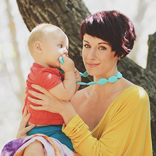 Price comparison product image Silicone Teething Necklace with Baby-safe Jewelry By FAVEfemme - Bpa-free,  Best Soothing Method,  Better Than Baltic Amber,  Teething Necklace for Mom (Tropical Turquoise Punch / Teal)