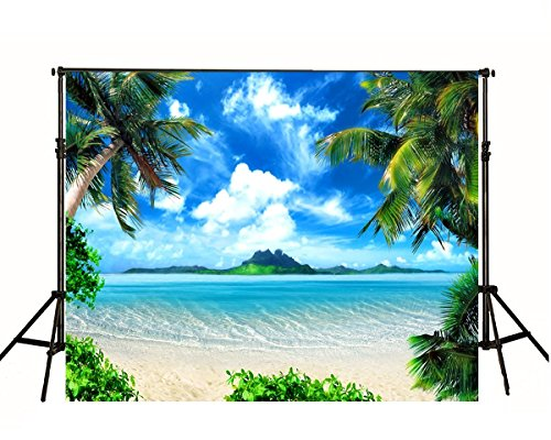 Ocean Beach Scene - Tropical Beach Bacckground Backdrop for Photography 7x5ft Large Palm Trees with Blue Ocean Photo Backdrop for Hawaii Party Custom Wedding Backgrounds Cloth