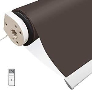 Motorized Blackout Cordless Roller Shades, Brown Remote Control Wireless and Rechargeable Window Blinds, Room Darkening Shades for Windows, Doors, Home, Office, Kitchen