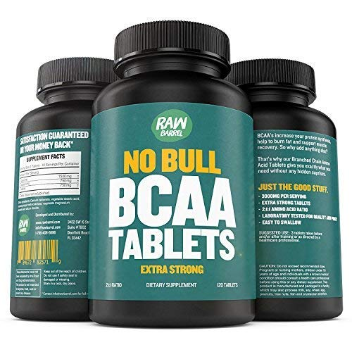 Raw Barrel's - Pure BCAA Tablets - SEE RESULTS OR YOUR MONEY BACK - 120 Pills - EXTRA STRONG 1000mg Per Tablet - 2:1:1 Branched Chain Amino Acid Ratio - *FREE* digital guide