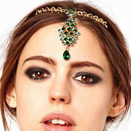 A&c Green Vintage Princess Head Chain for Women, Fashion Bohemia Headband for Girl. - Head Princess Indian