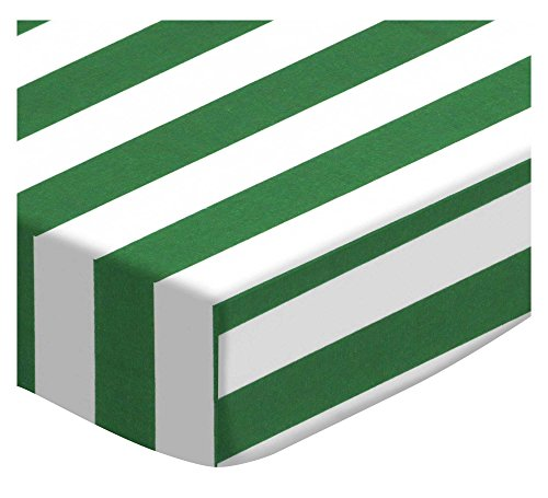 SheetWorld Fitted Portable Mini Crib Sheet - Forest Green Stripe - Made in USA by SHEETWORLD.COM
