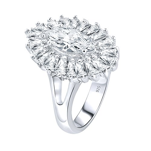 Marquise Tapered Ring (Women's Sterling Silver .925 Ring with Clear Marquise Center Surrounded by 21 Tapered Baguette Cubic Zirconia (CZ) stones, Pltinum Plated, Appears indentical to platinum or gold Jewelry)
