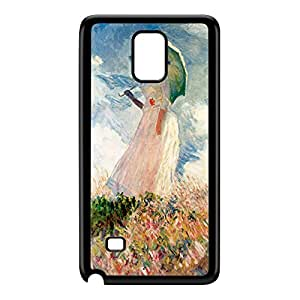 Girl with Umbrealla by Claude Monet Black Hard Plastic Case for Galaxy Note 4 by Painting Masterpieces + FREE Crystal Clear Screen Protector