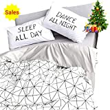 OROA Lightweight Cotton Twin Duvet Cover Sets for Kids Boys Girls 3 Piece Reversible Plaid Home Textile Geometric Teen Bedding Sets Twin with Pillow Shams, Style 4