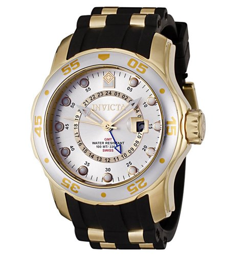 Invicta Men's 6995 Pro Diver Collection GMT Silver Dial Black Polyurethane (Silver Dial Polyurethane)