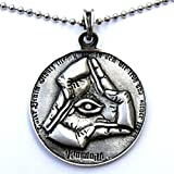 (US) Bavarian Illuminati Pendant All Seeing Evil Eye Pewter Pendant Amulet W Silver Ball Chain