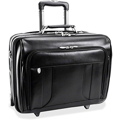McKleinUSA Lasalle 83405 R Series Leather 17-Inch Wheeled Laptop Overnight (Black) - Overnight Leather Computer Briefcase