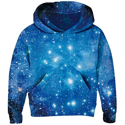 RAISEVERN Unisex Kids Hoodie Dream Blue Starry Sky Warm Fleece Pullover Sweatshirt 3D Printed Shining Star Hooded Shirt for Boys Girls