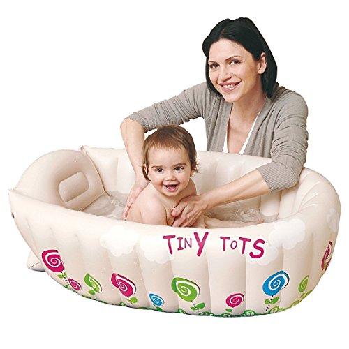 Anokay aufblasbare Neugeborene kleinkind Babybadewanne (0-4 Jahre) Badewannensitz mit Thermometer, Badesets für unterwegs faltbar Badewanne für Babys