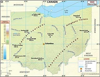 Canada Cartina Fisica.Ohio Mappa Fisica Laminato 91 4 Cm W X 70 1 Cm H Amazon It Cancelleria E Prodotti Per Ufficio