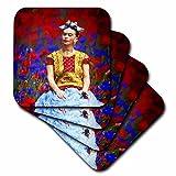 3dRose Uta Naumann Watercolor Illustration - Frida- Free Artistic Adaptation of the Mexican Paintress - set of 4 Ceramic Tile Coasters (cst_266910_3)