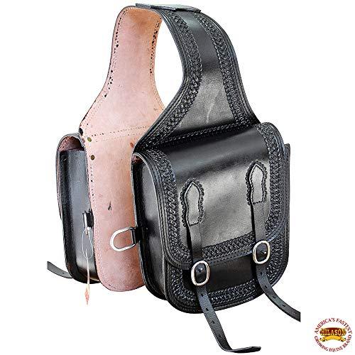 HILASON Western Leather Cowboy Trail Ride Horse Saddle Bag Black