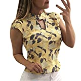 Software : NRUTUP Women's Fashion Printing Cap Sleeve Tops Summer Casual Shirt Elegant T-Shirts Vintage Blouse Hot(Yellow,XXL)