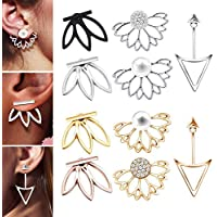10 Pairs Ear Jacket Stud Lotus Flower Earrings for Women and Girls Set for Sansitive Ears Simple Chic Jewelry